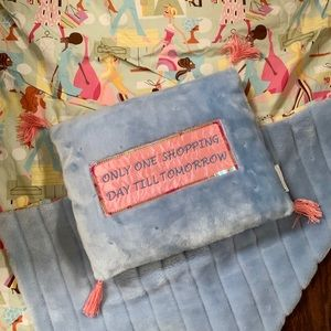 ADORABLE Shopper Girl Faux Fur Blanket & Pillow
